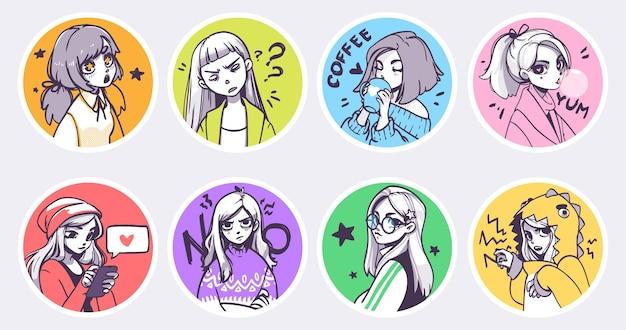 Zestaw uroczych ilustracji anime dziewcząt w różnych ubraniach o różnych wyrażeniach
