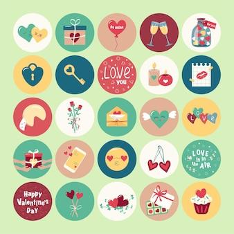 Zestaw uroczych izolowanych ikon na walentynki wielokolorowe jasne piktogramy serca prezent klucz...