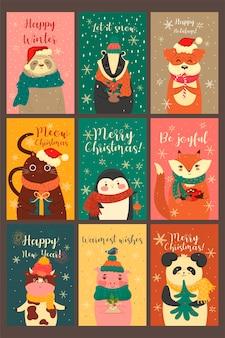Zestaw uroczych kart ze zwierzętami w świątecznym nastroju