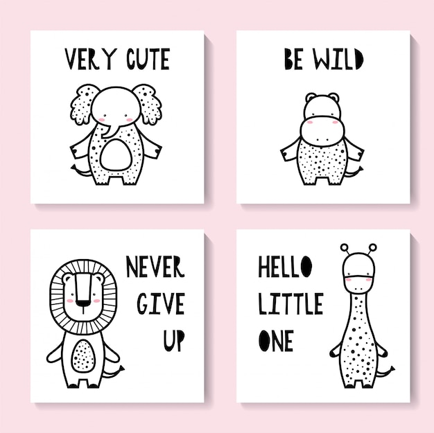 Zestaw uroczych kart ze zwierzętami. żyrafa, słoń, hipopotam, lew