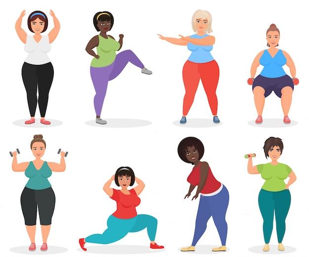 Zestaw uroczych kobiet w dużych rozmiarach, wykonujących ćwiczenia fitness. gruba kobieta sport i fitness.