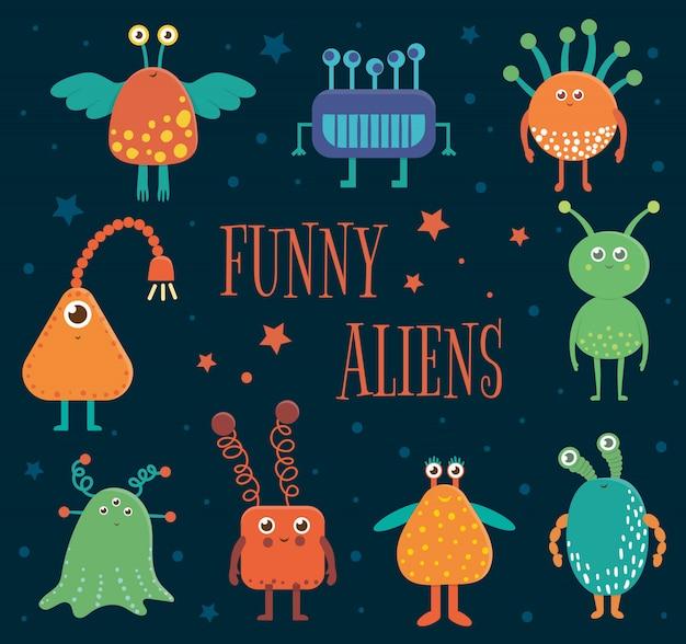 Zestaw uroczych kosmitów dla dzieci. jasna i zabawna płaska ilustracja uśmiechniętych istot pozaziemskich