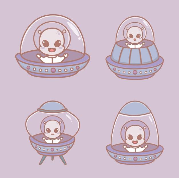 Zestaw uroczych kosmitów na statku kosmicznym, kosmici na ufo. ilustracje wektorowe kreskówka.