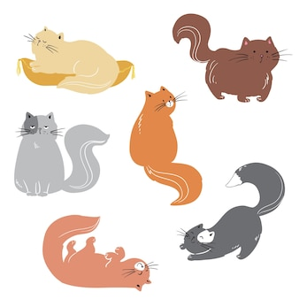 Zestaw uroczych kotów bawiących się wokół płaskiej ilustracji wektorowych