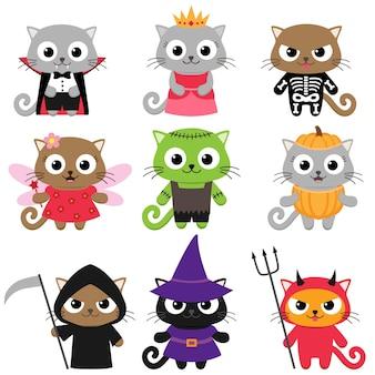 Zestaw uroczych kotów wektorowych w różnych kostiumach na halloween