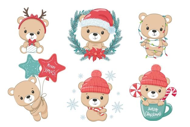 Zestaw uroczych misiów na nowy rok i na boże narodzenie. ilustracja wektorowa kreskówki. wesołych świąt.