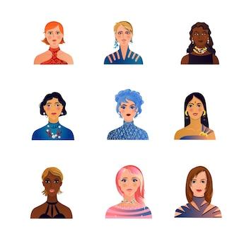 Zestaw uroczych, modnych, kolorowych awatarów kobiety lub dziewczyny do profilu. styl kreskówki.