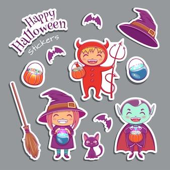 Zestaw uroczych naklejek z postaciami wiedźmy, wampira, diabła i innych magicznych elementów. projekt postaci halloween. ilustracja wektorowa.