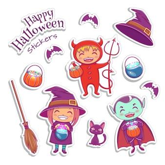 Zestaw uroczych naklejek zawiera wiedźmę, wampira, diabła i inne magiczne elementy. projekt postaci halloween. ilustracja wektorowa.