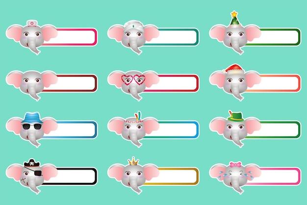 Zestaw uroczych naklejek ze słoniem, nazwa lub kolekcja tagów