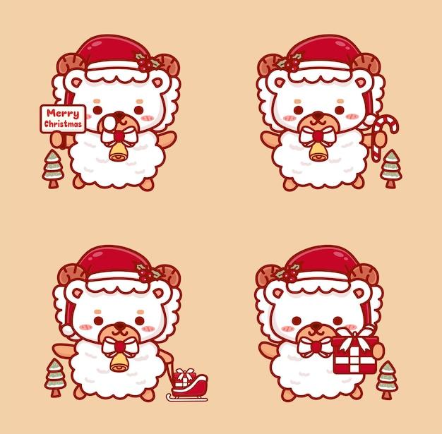 Zestaw uroczych owiec świętujących boże narodzenie. trzymający prezent, jingle bell i tekst wesołych świąt.