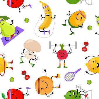 Zestaw uroczych owoców i warzyw uprawianych na sportowo jednolity wzór kreskówki z owoców i warzyw