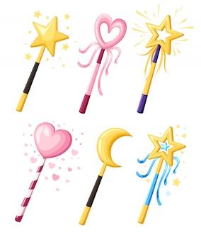 Zestaw uroczych ozdobnych różdżek magicznych w różnych kształtach. koncepcja mocy kreskówka magiczna dziewczyna. ilustracja na białym tle. strona internetowa i aplikacja mobilna