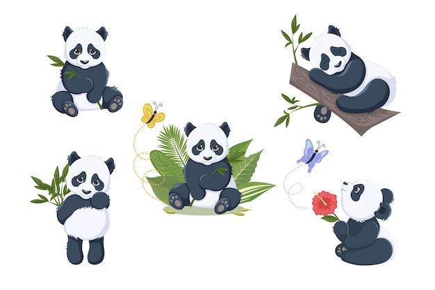 Zestaw uroczych pand, w motyle, na gałęzi, z bambusem i kwiatami. ilustracja wektorowa dla dzieci z pandą baby. eps10.