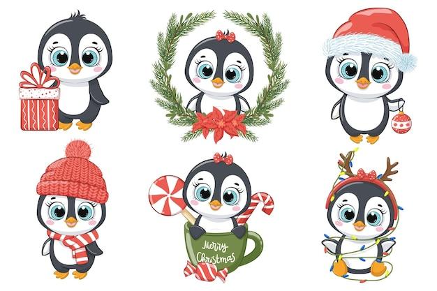Zestaw uroczych pingwinów na nowy rok i na boże narodzenie. ilustracja wektorowa kreskówki.
