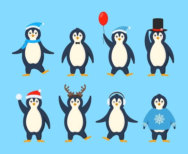 Zestaw uroczych pingwinów na sobie zimowe ubrania i czapki. kolekcja zabawnych kreskówek arktycznych postaci zwierząt w odzieży wierzchniej. pocztówka na nowy rok i boże narodzenie. obraz w stylu płaskiej kreskówki.