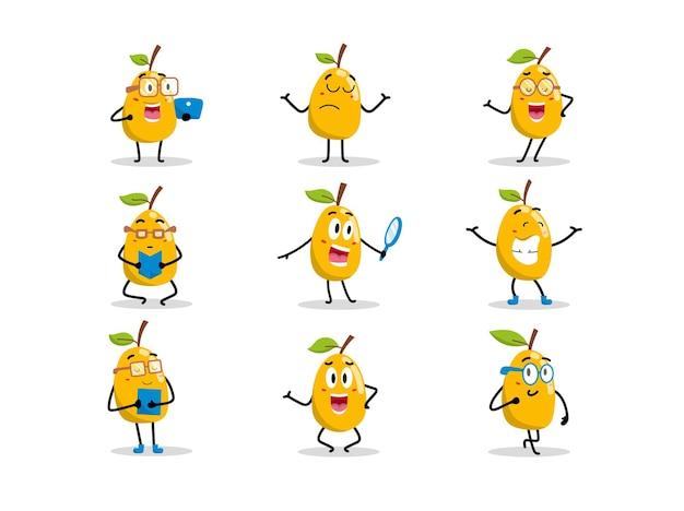 Zestaw uroczych postaci mango w różnych pozach