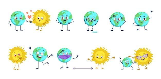Zestaw uroczych postaci planety ziemi i słońca z różnymi emocjami. zabawni lub smutni kosmiczni bohaterowie bawią się, zakochują, trzymają dystans w masce, z sercem lub łzami. płaskie ilustracji wektorowych