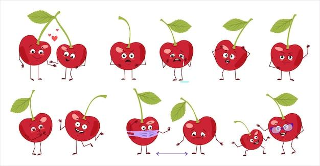 Zestaw uroczych postaci wiśni z emocjami twarze ręce i nogi szczęśliwi lub smutni bohaterowie grają w czerwone jagody...