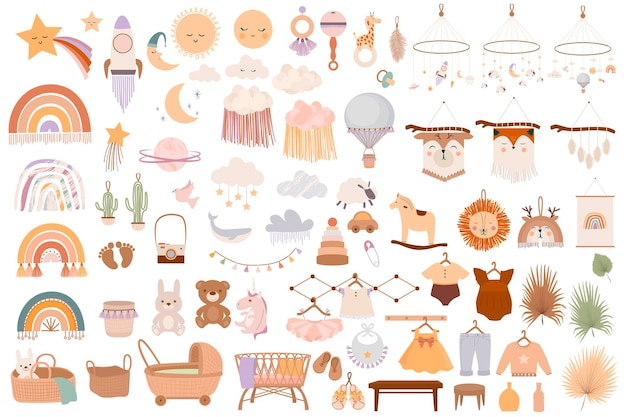 Zestaw uroczych przedmiotów dla dzieci w stylu boho w stylu skandynawskim.