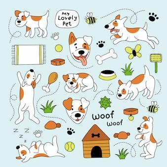 Zestaw uroczych psów i różnych elementów dla zwierząt domowych