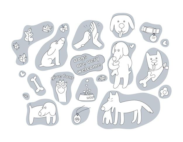 Zestaw uroczych psów łapa ludzką rękę i akcesoria dla zwierząt elementy projektu do pielęgnacji psów