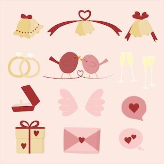 Zestaw uroczych ptaków i różnych elementów z dzwonkami, wstążką, pierścieniami, prezentem, sercem i szkłem.