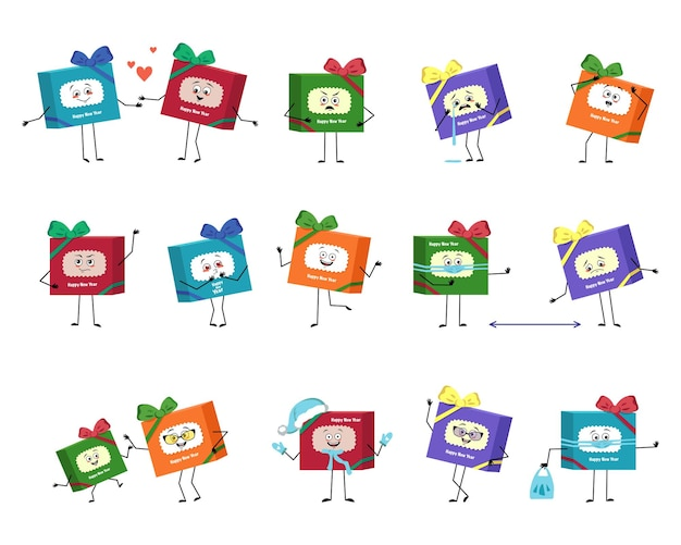 Zestaw uroczych pudełek prezentowych dla postaci z emocjami twarzy ręce i nogi wesoły lub smutny świąteczny...