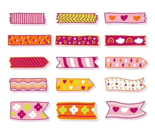 Zestaw uroczych rysowanych taśm washi