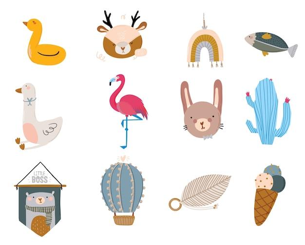 Zestaw uroczych skandynawskich postaci dla dzieci, w tym modne cytaty i fajne zwierzę