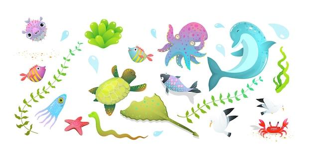 Zestaw uroczych stworzeń morskich dla dzieci: delfin, rozgwiazda, ryby i kałamarnice, kraby i inne zabawne podwodne stworzenia.