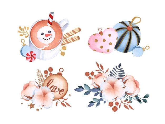 Zestaw uroczych świątecznych zabawek i kompozycji akwarelowych z kakao