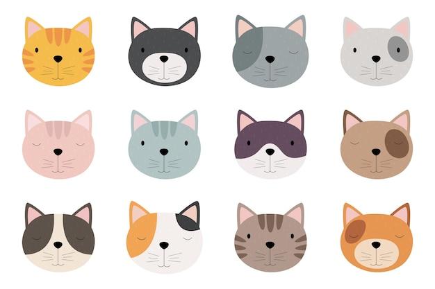 Zestaw uroczych twarzy kota z kreskówek