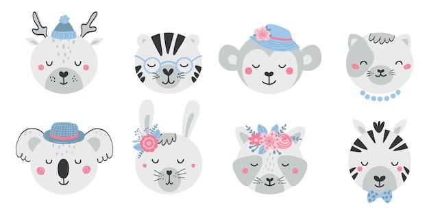 Zestaw uroczych twarzy zwierząt i kwiatów w stylu płaski. kolekcja znaków jelenia, tygrysa, małpy, kota, koali, zająca, szopa pracza, zebry. ilustracja zwierząt dla dzieci na białym tle. wektor
