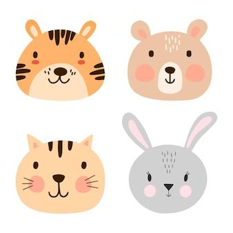 Zestaw uroczych twarzy zwierząt w skandynawskim prostym dziecinnym stylu. słodki tygrys, niedźwiedź, kot, portret króliczka.