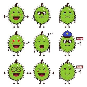 Zestaw uroczych wektorów ilustracji owoców duriana w różnych stylach