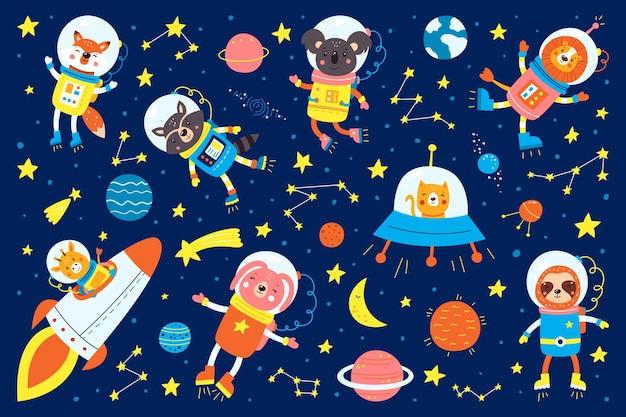 Zestaw uroczych zwierząt, astronautów, rakiet, satelitów, ufo, gwiazd w kosmosie.