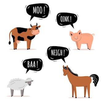 Zestaw uroczych zwierząt gospodarskich. krowa, koń, świnia i owca. dymek, karty dla dzieci, nauczanie dzieci. płaska ilustracja wektorowa