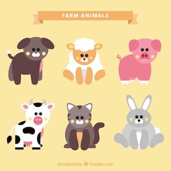 Zestaw uroczych zwierząt gospodarskich