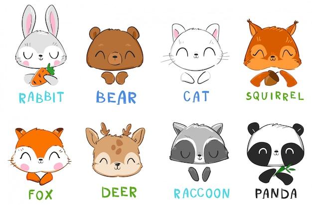 Zestaw uroczych zwierzątek ilustracja kot i wiewiórka, miś panda, królik i lis, szop i jeleń