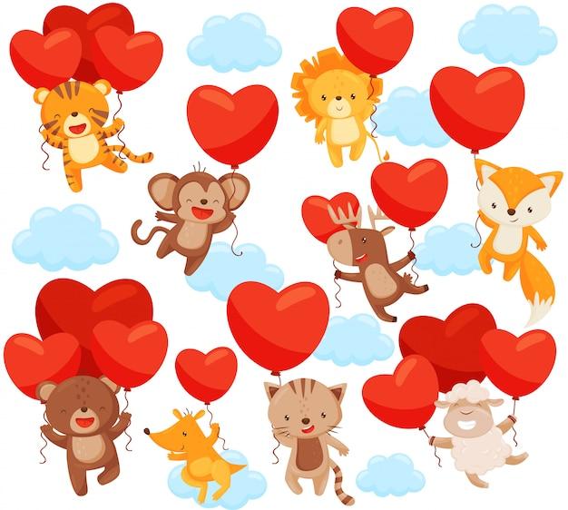 Zestaw uroczych zwierzątek latających na niebie z balonami w kształcie serca. motyw miłosny. elementy do pocztówki