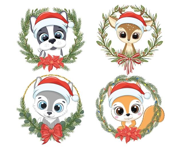 Zestaw uroczych zwierzątek na nowy rok i na boże narodzenie. pies, szczeniak, renifer, wilk, wiewiórka. ilustracja wektorowa kreskówki.