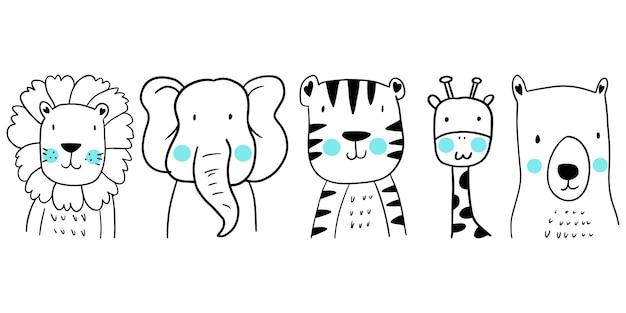 Zestaw uroczych zwierzątek ręcznie rysowane. dzieci na białym tle. ilustracja wektorowa