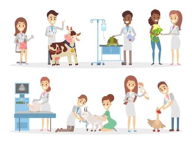 Zestaw uroczych zwierzątek, takich jak krowa, świnia, koza i inne, przechodzi badanie weterynaryjne w klinice. ludzie opiekują się zwierzętami. ilustracja