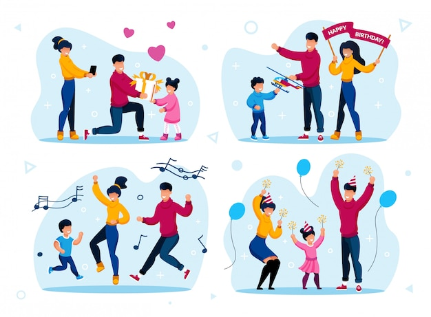 Zestaw uroczystości rodzinne wakacje rodzinne