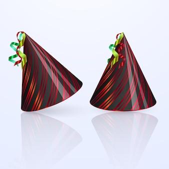 Zestaw urodzinowy kapelusz. zestaw kapelusz party na białym tle