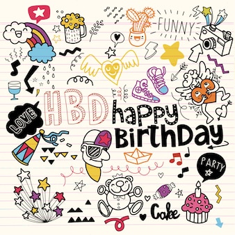 Zestaw urodzinowy ręcznie rysowane doodle szkic linii