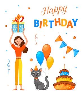 Zestaw urodzinowy z dziewczyną, kotem i napisem