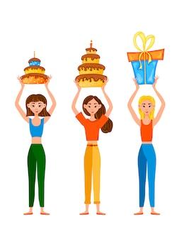 Zestaw urodzinowy z dziewczynami i prezentami. styl kreskówkowy. .