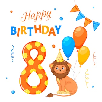 """Zestaw urodzinowy z lwem, napisem """"happy birthday"""" i numerem ósmym."""
